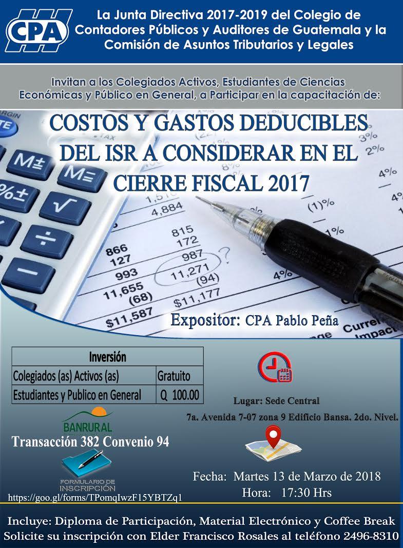 Costos y Gastos Deducibles del ISR  a Considerar en el Cierre Fiscal 2017