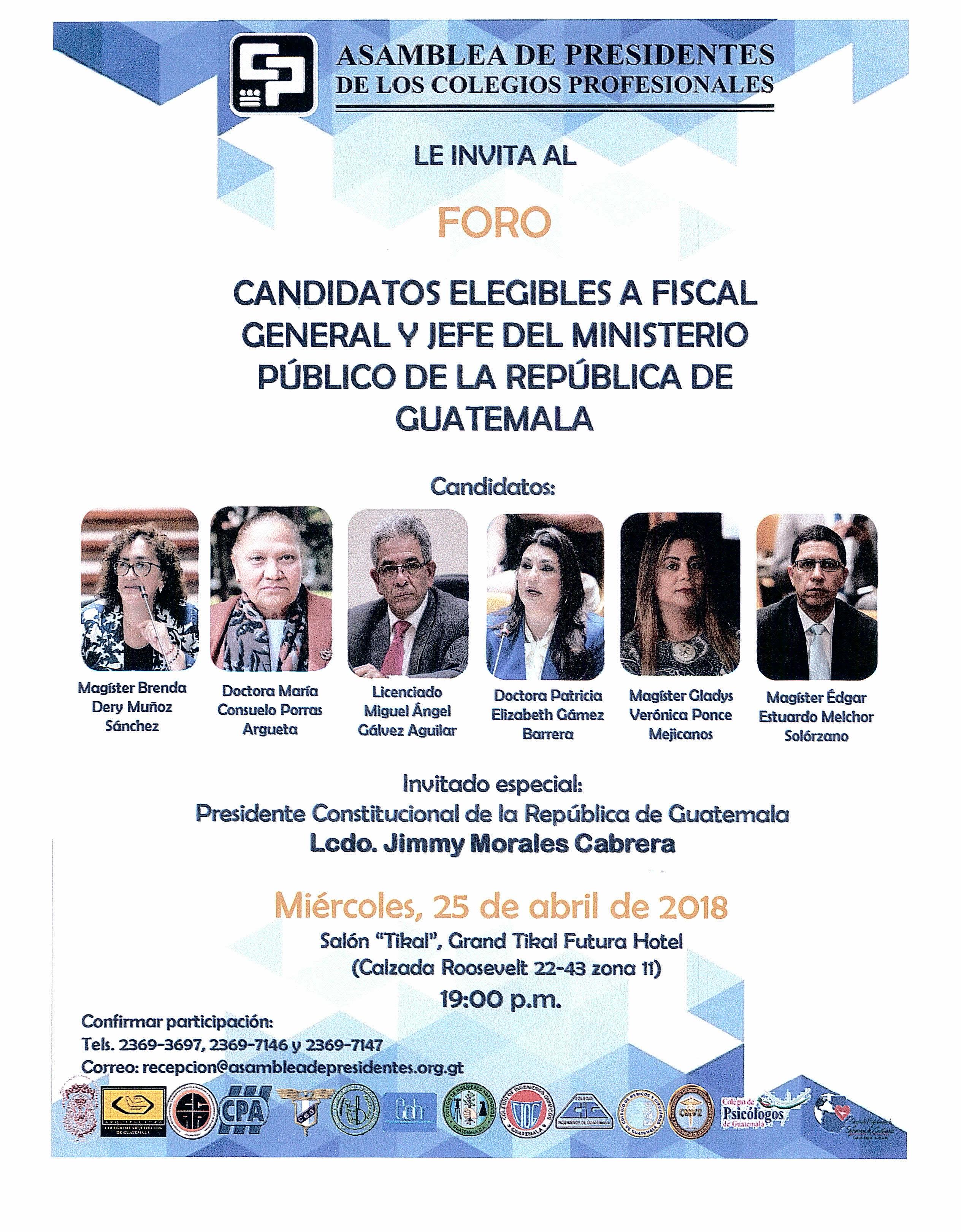 Candidatos Elegibles a Fiscal General y Jefe del Ministerio Público de la República de Guatemala