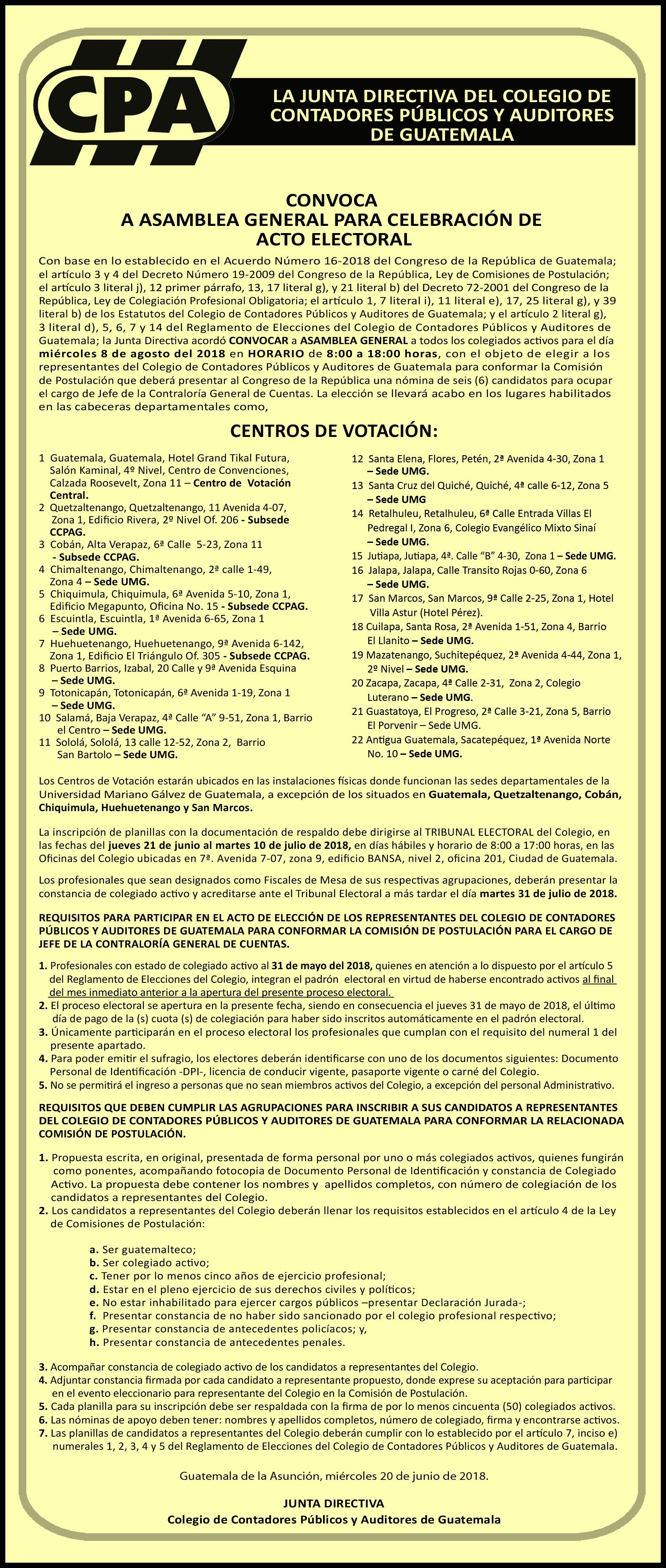 Convocatoria Elecciones Jefe de la CGC