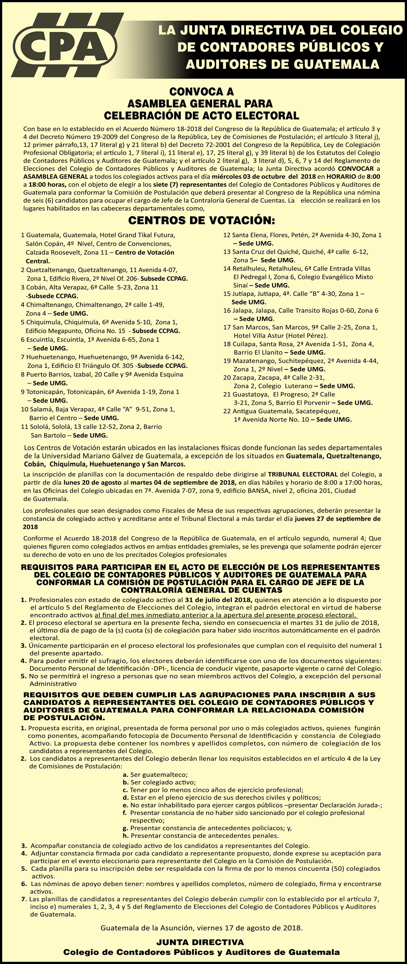 Convocatoria Comisión de Postulación – Jefe de la Contraloria General de Cuentas