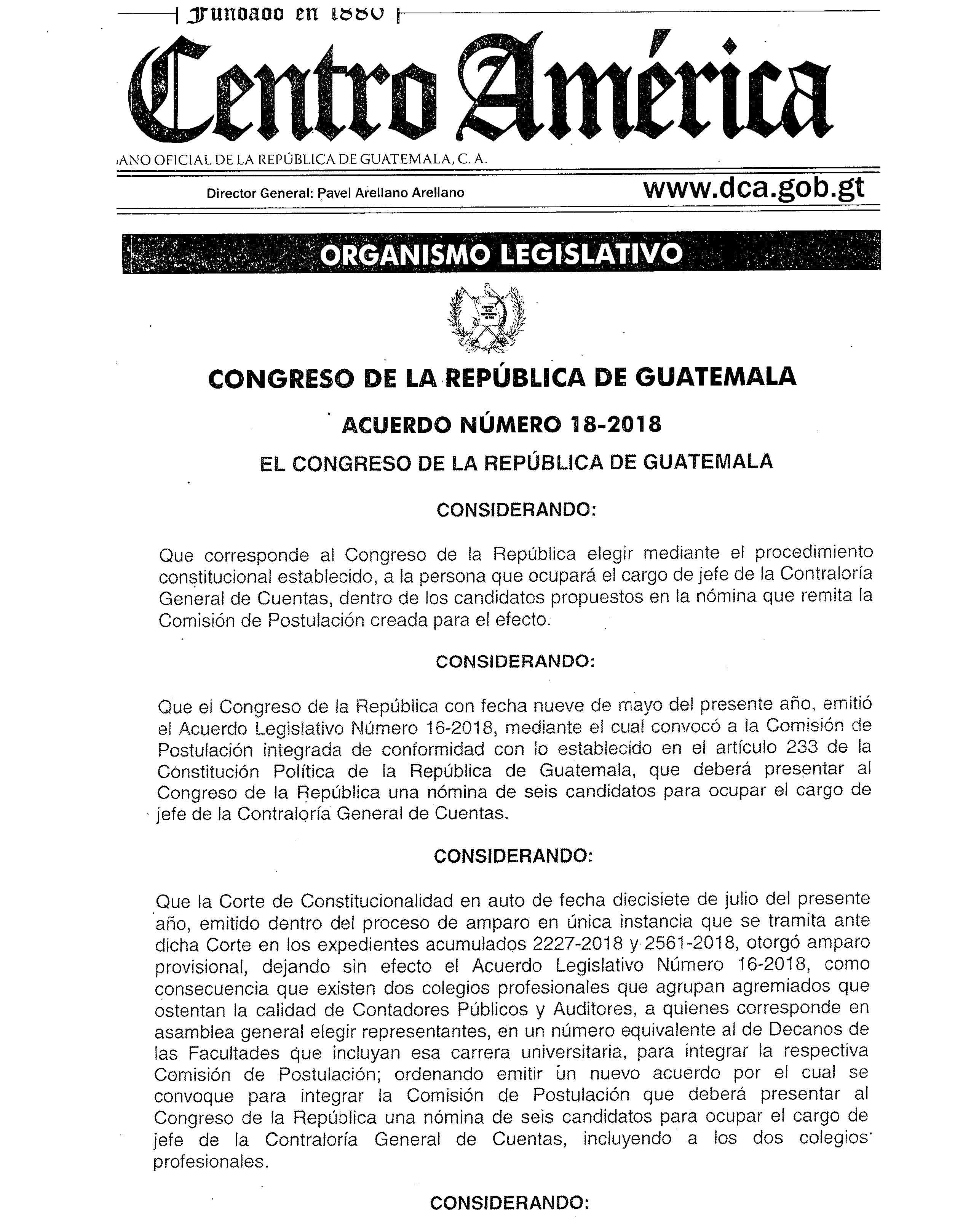 CONGRESO DE LA REPÚBLICA DE GUATEMALA Acuerdo Número 18-2018