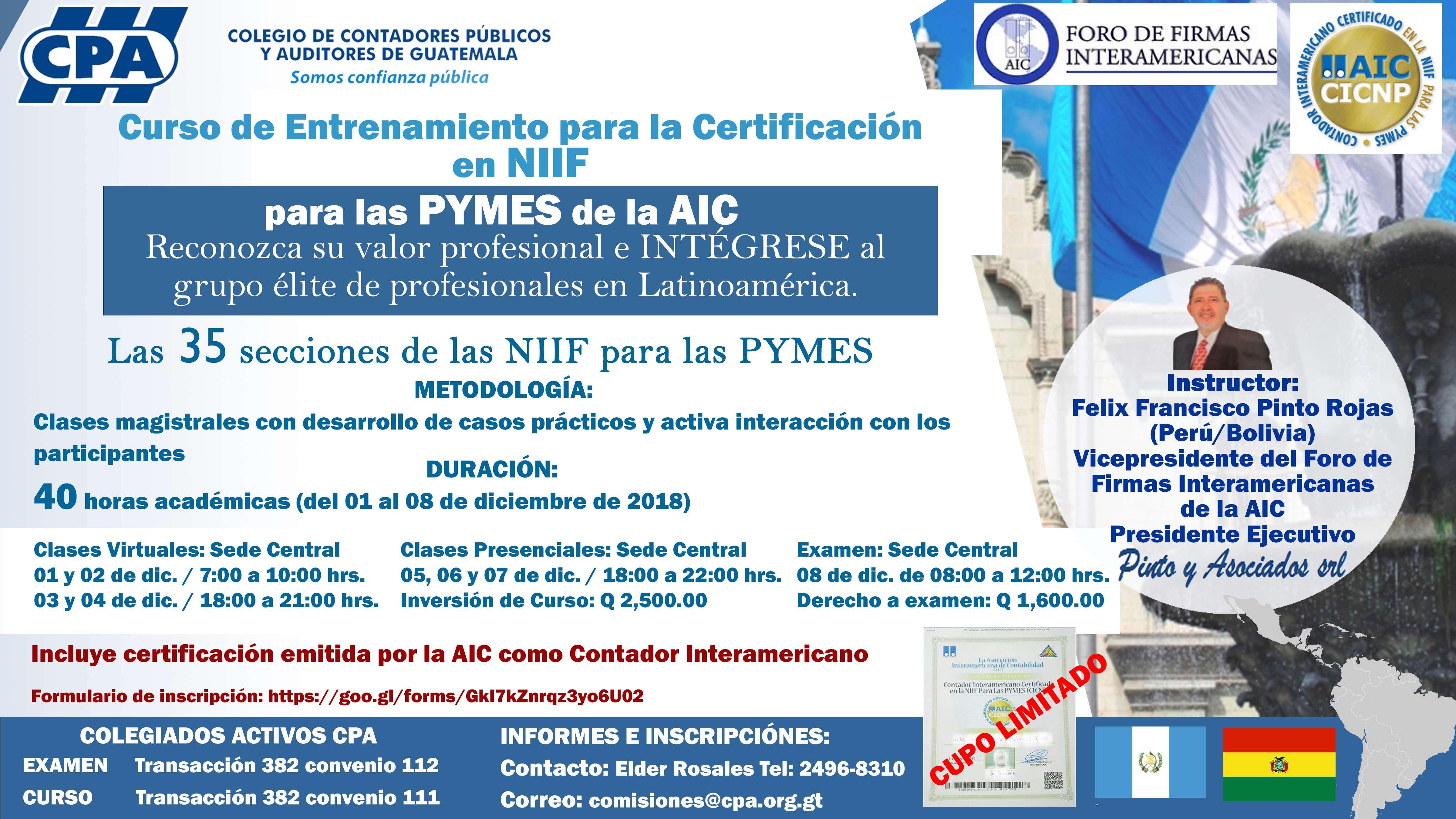 Curso de Entrenamiento para la Certificación en NIIF para las PYMES de la AIC