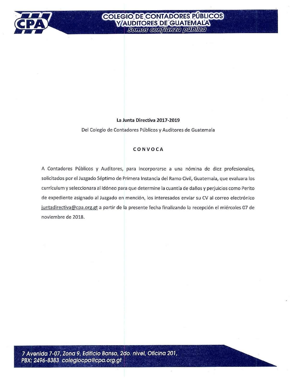 Convocatoria Perito de expediente – Juzgado Séptimo de Primera Instancia del Ramo Civil, Guatemala