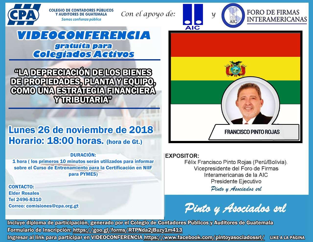 Videoconferencia «LA DEPRECIACIÓN DE LOS BIENES DE PROPIEDADES, PLANTA Y EQUIPO COMO UNA ESTRATEGIA FINANCIERA Y TRIBUTARIA»