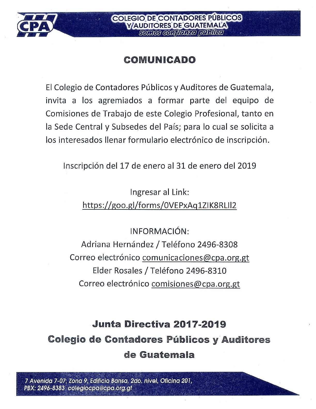 Comunicado «Comisiones de Trabajo del CCPAG»