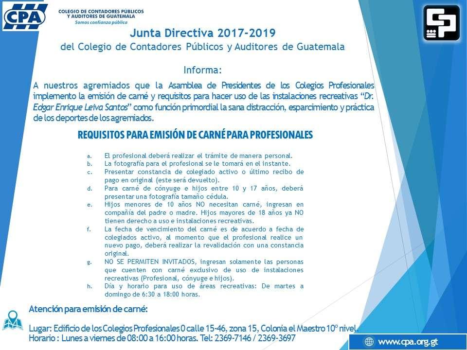 REQUISITOS PARA EMISIÓN DE CARNÉ PARA PROFESIONALES  (uso de las instalaciones recreativas))