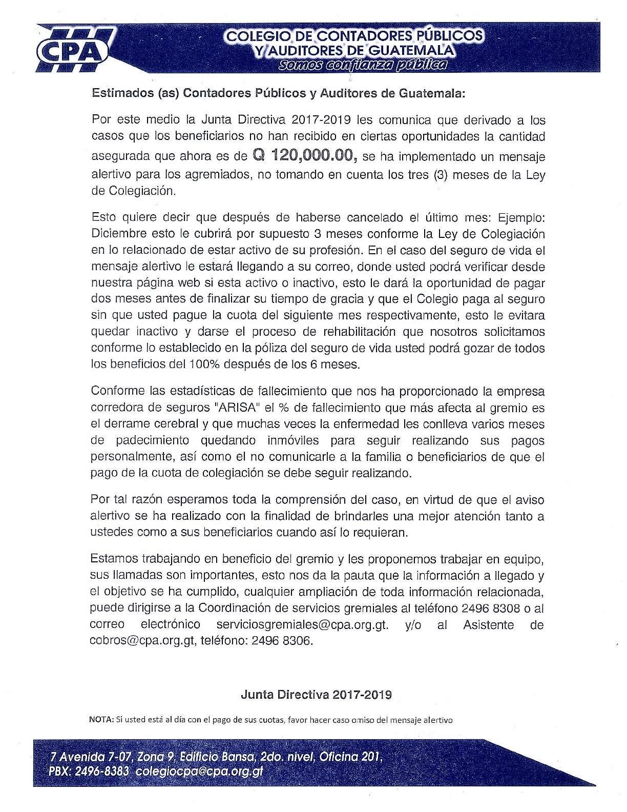 Junta Directiva 2017-2019 del Colegio de Contadores Públicos y Auditores de Guatemala Comunica: