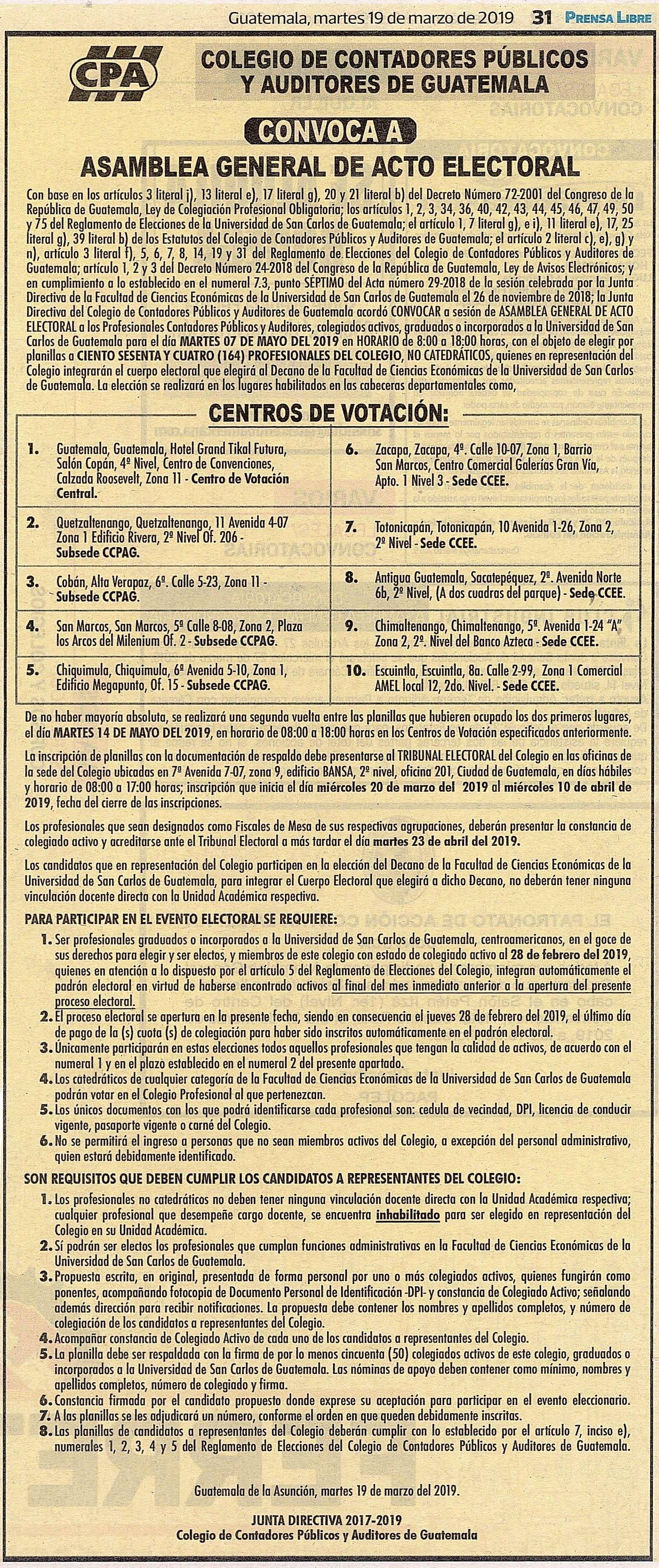 ASAMBLEA GENERAL DE ACTO ELECTORAL