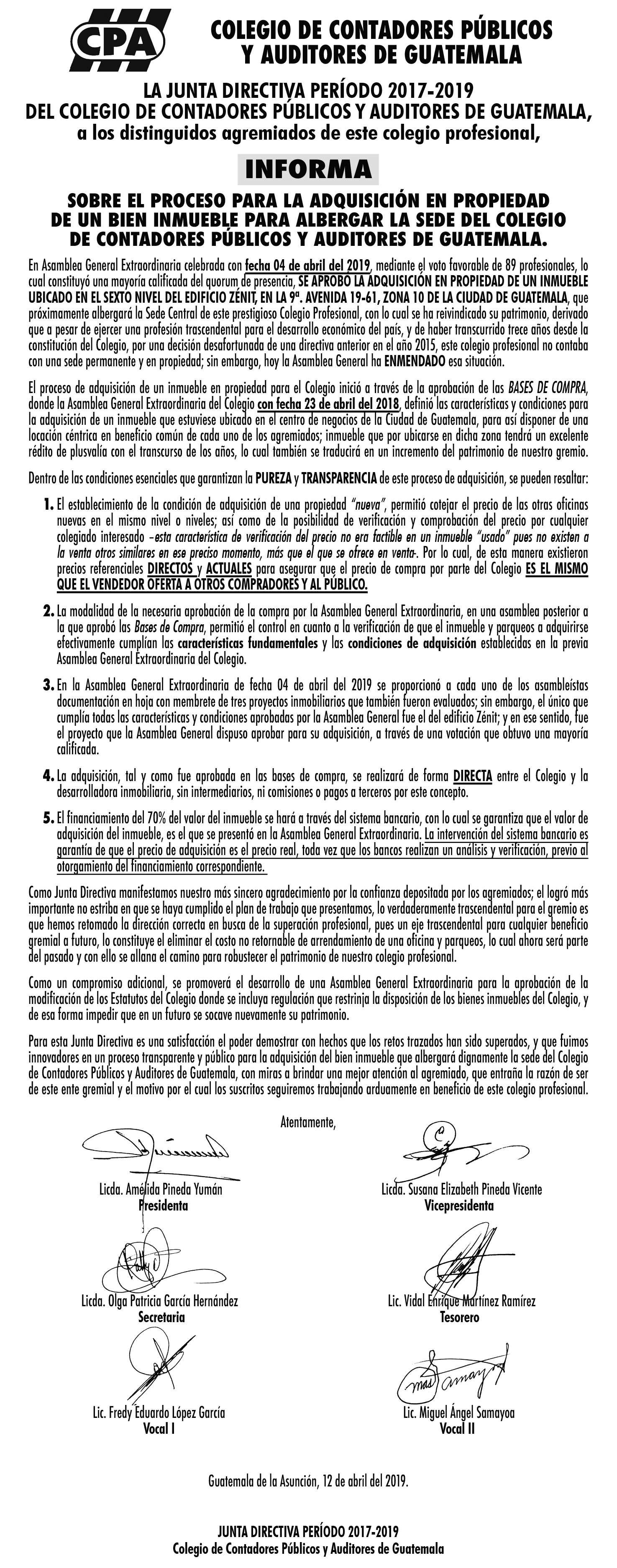 Junta Directiva 2017-2019 Informa