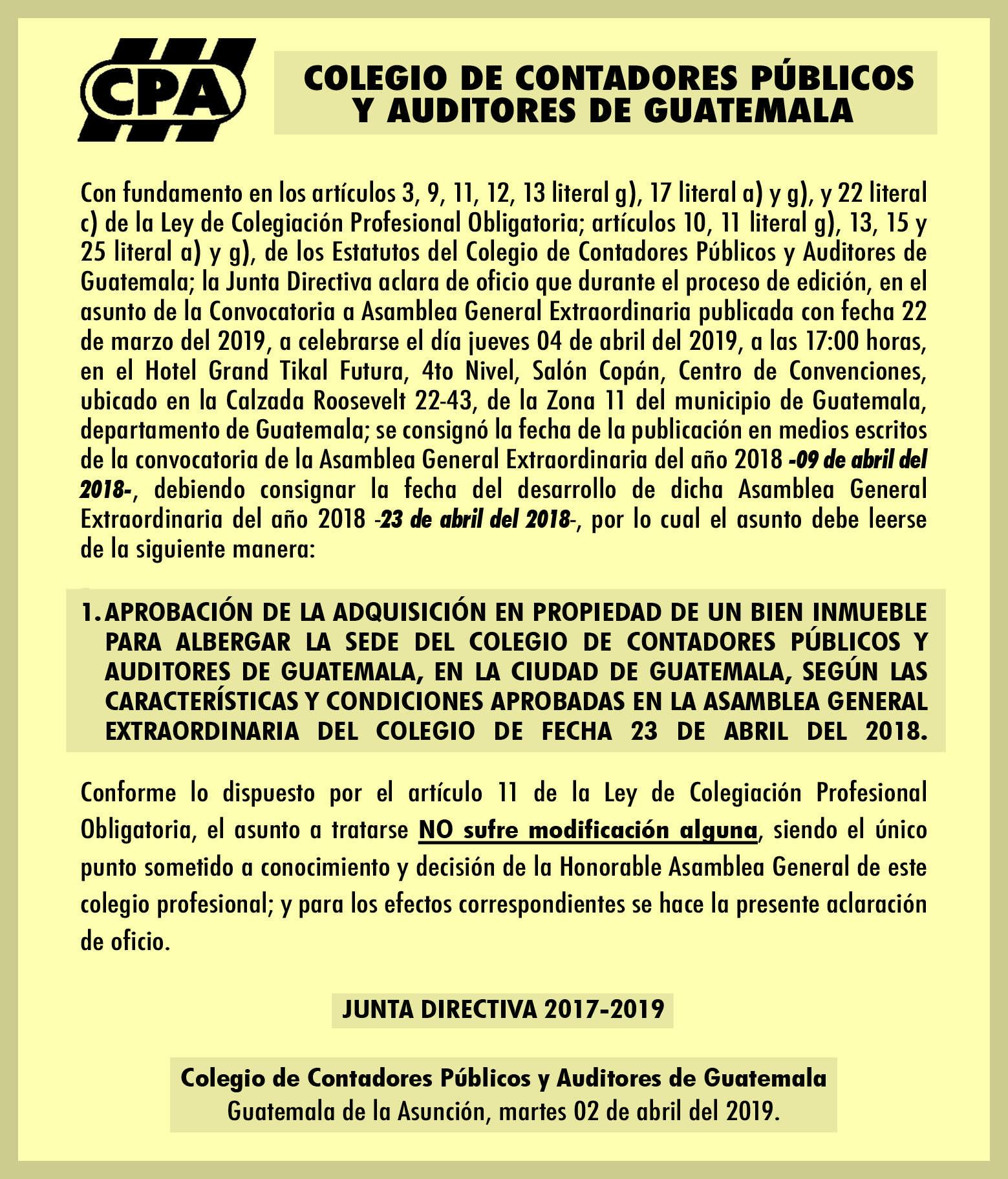 Nota aclaratoria de Asamblea General Extraordinaria a celebrarse el 04 de abril del 2019.