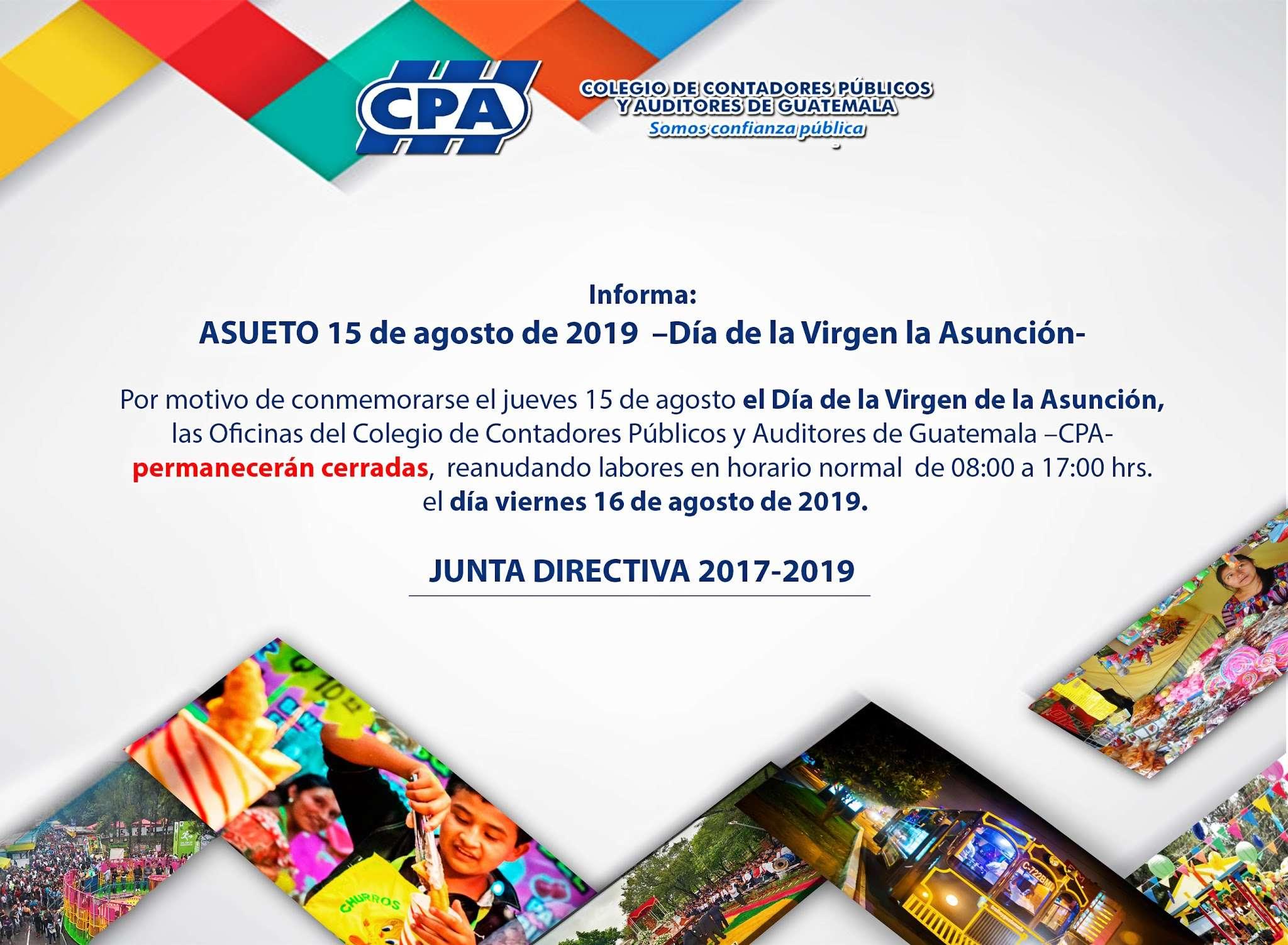 Asueto 15 de agosto de 2019 – Día de la Virgen de la Asunción