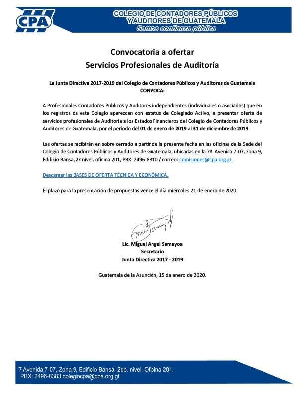 Convocatoria a ofertar Servicios Profesionales de Auditoría