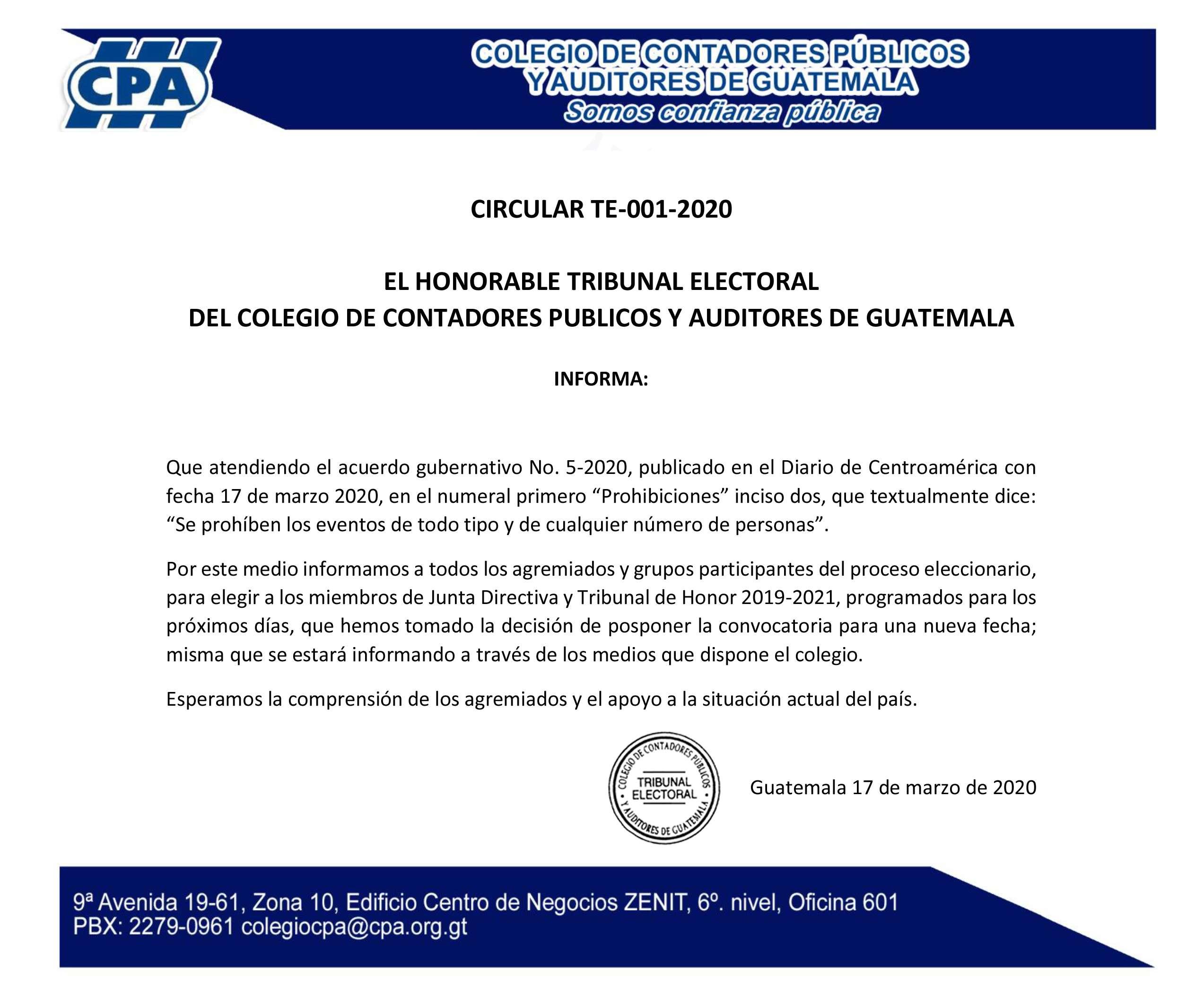 CIRCULAR TE-001-2020