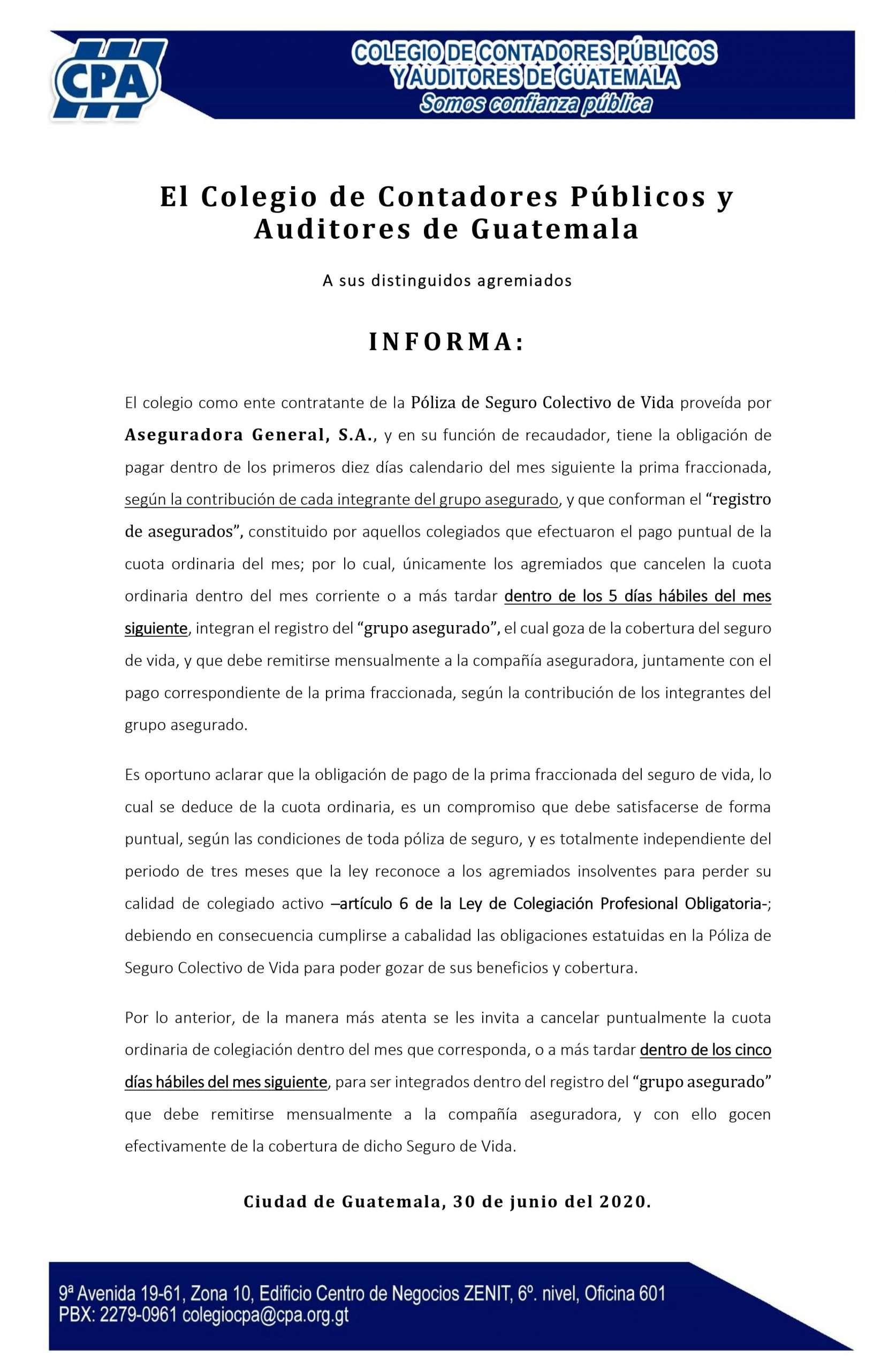 INFORMATIVO – REGISTRO ASEGURADOS Y PAGO FRACCIONADO PRIMA SEGURO COLECTIVO VIDA – 30 JUN 20