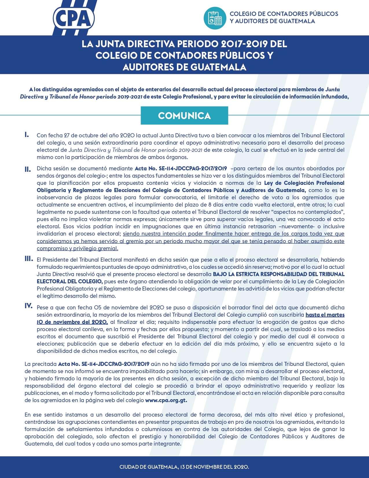 COMUNICADO 13 DE NOVIEMBRE DEL 2020