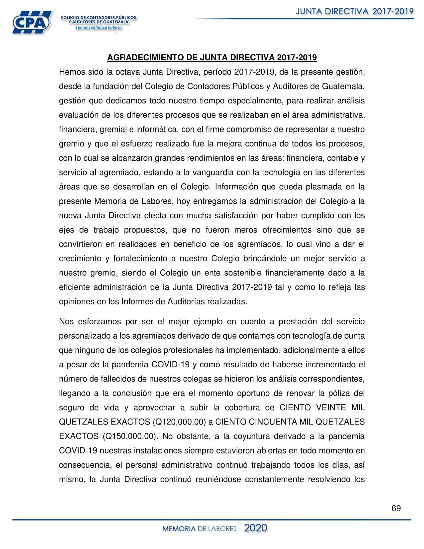 AGRADECIMIENTO DE JUNTA DIRECTIVA 2017-2019