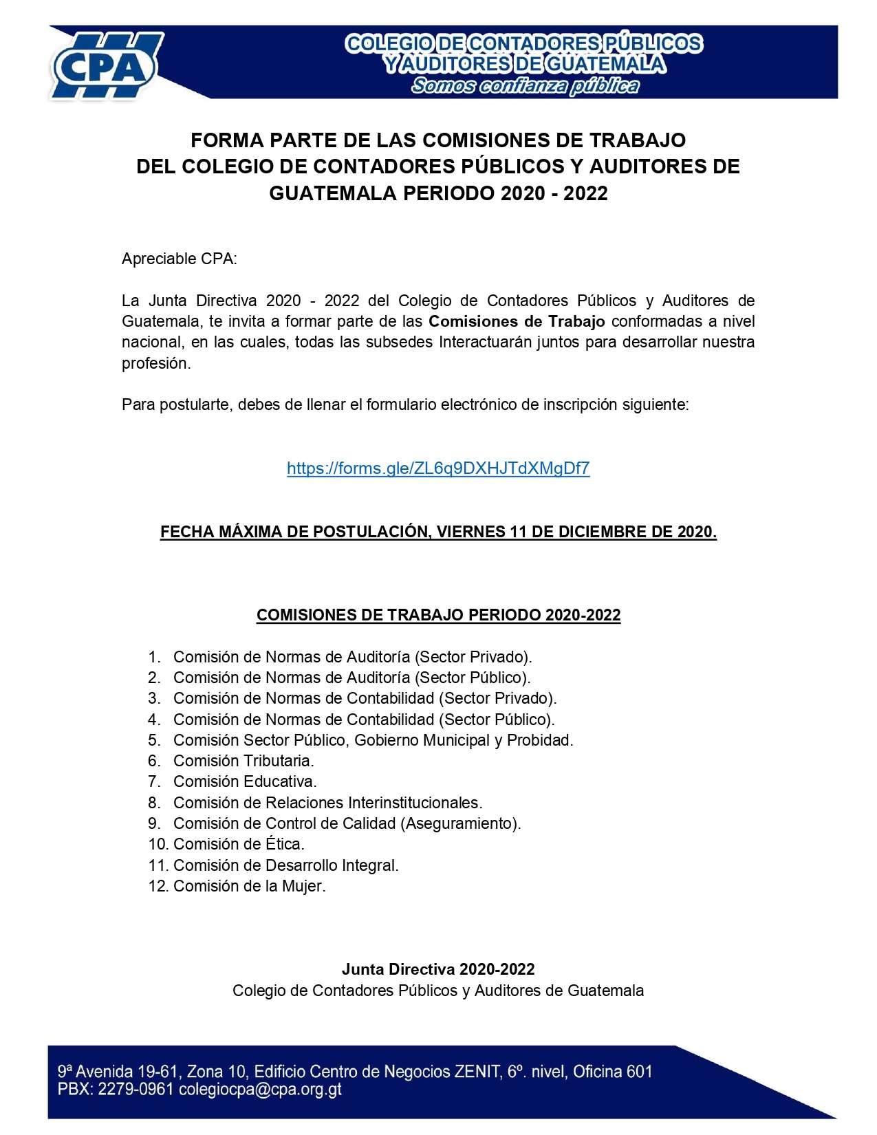 CONVOCATORIA – COMISIONES DE TRABAJO PERIODO 2020-2022