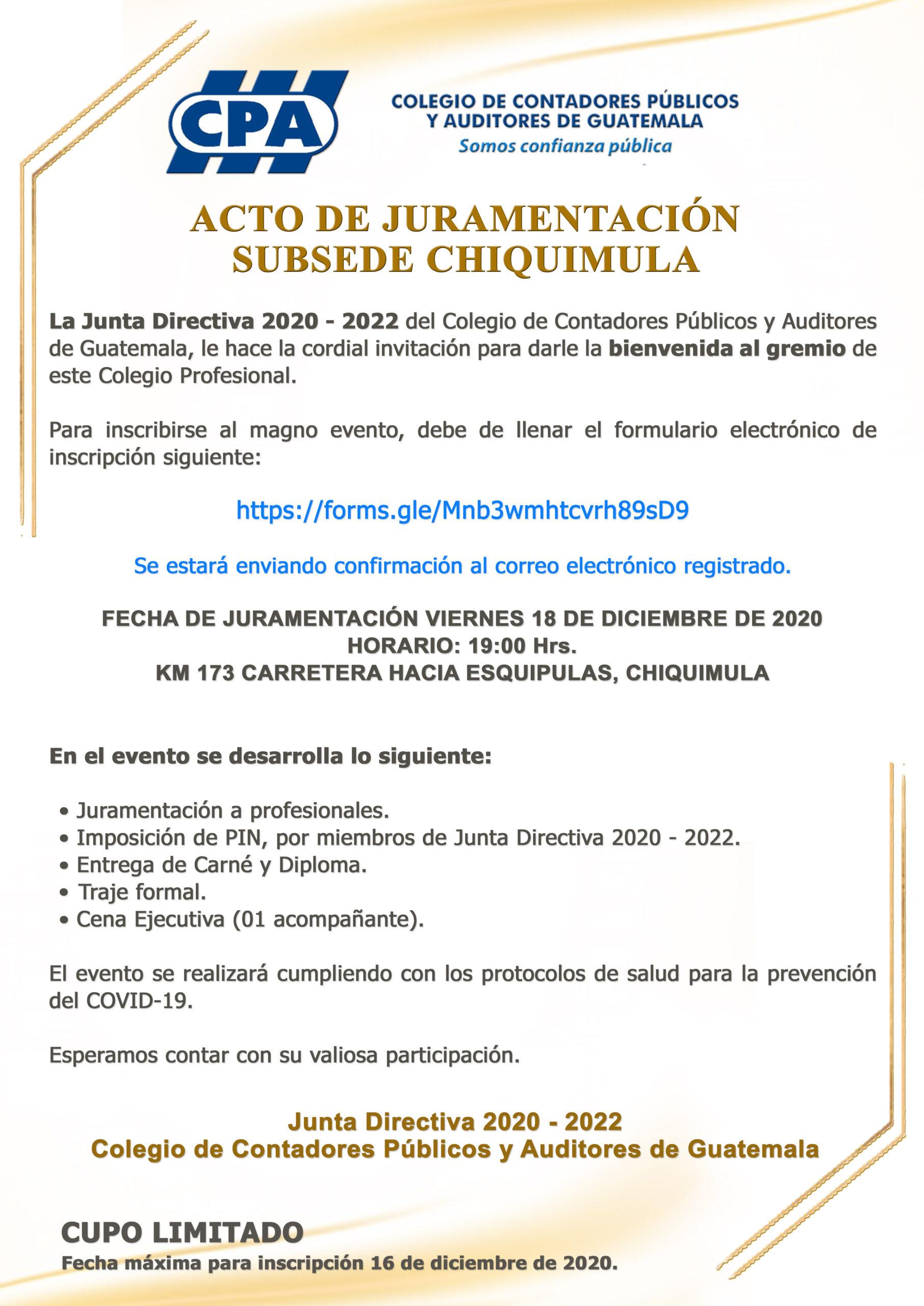 ACTO DE JURAMENTACIÓN | SUBSEDE CHIQUIMULA