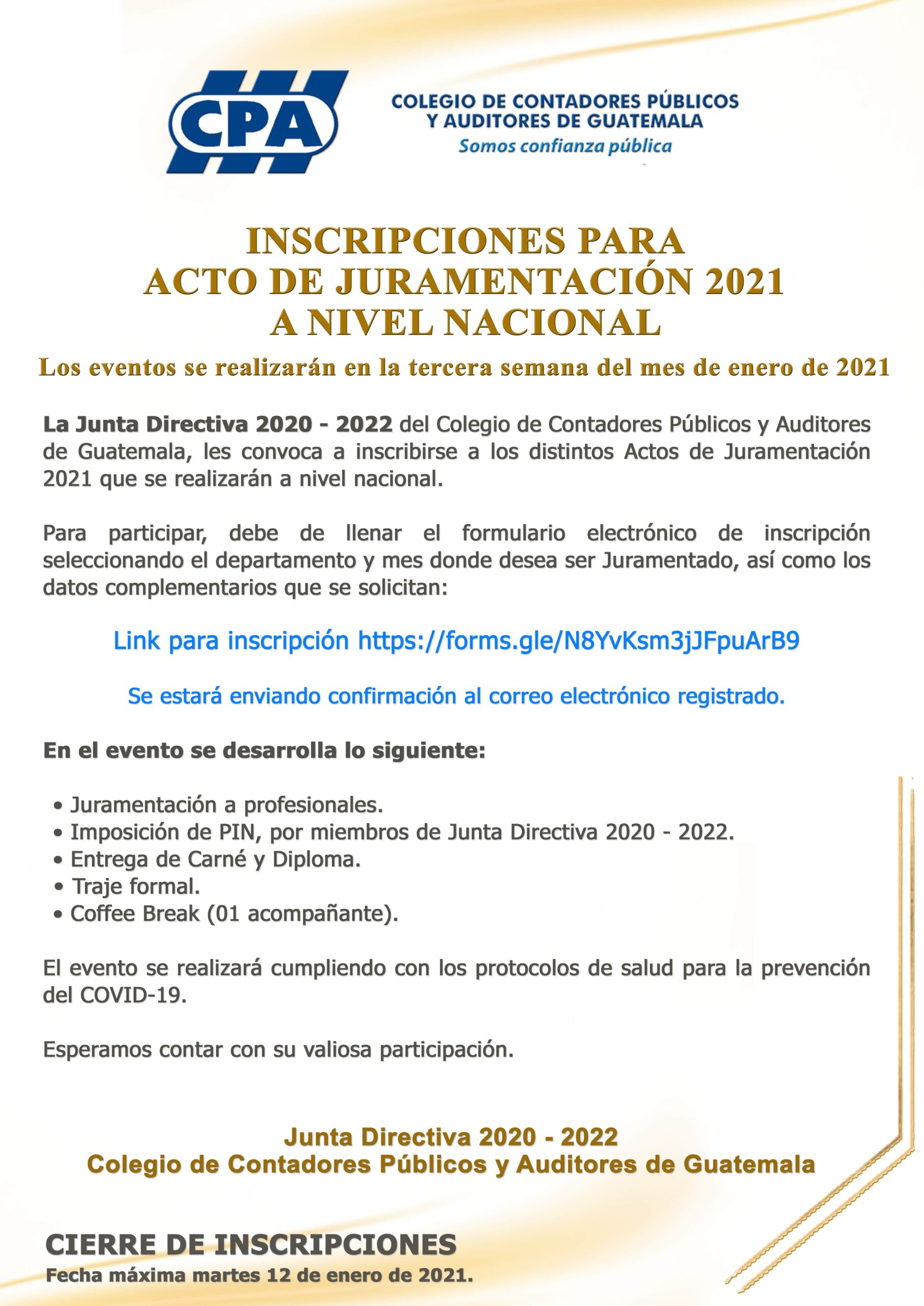 INSCRIPCIÓN PARA ACTO DE JURAMENTACIÓN 2021 | A NIVEL NACIONAL