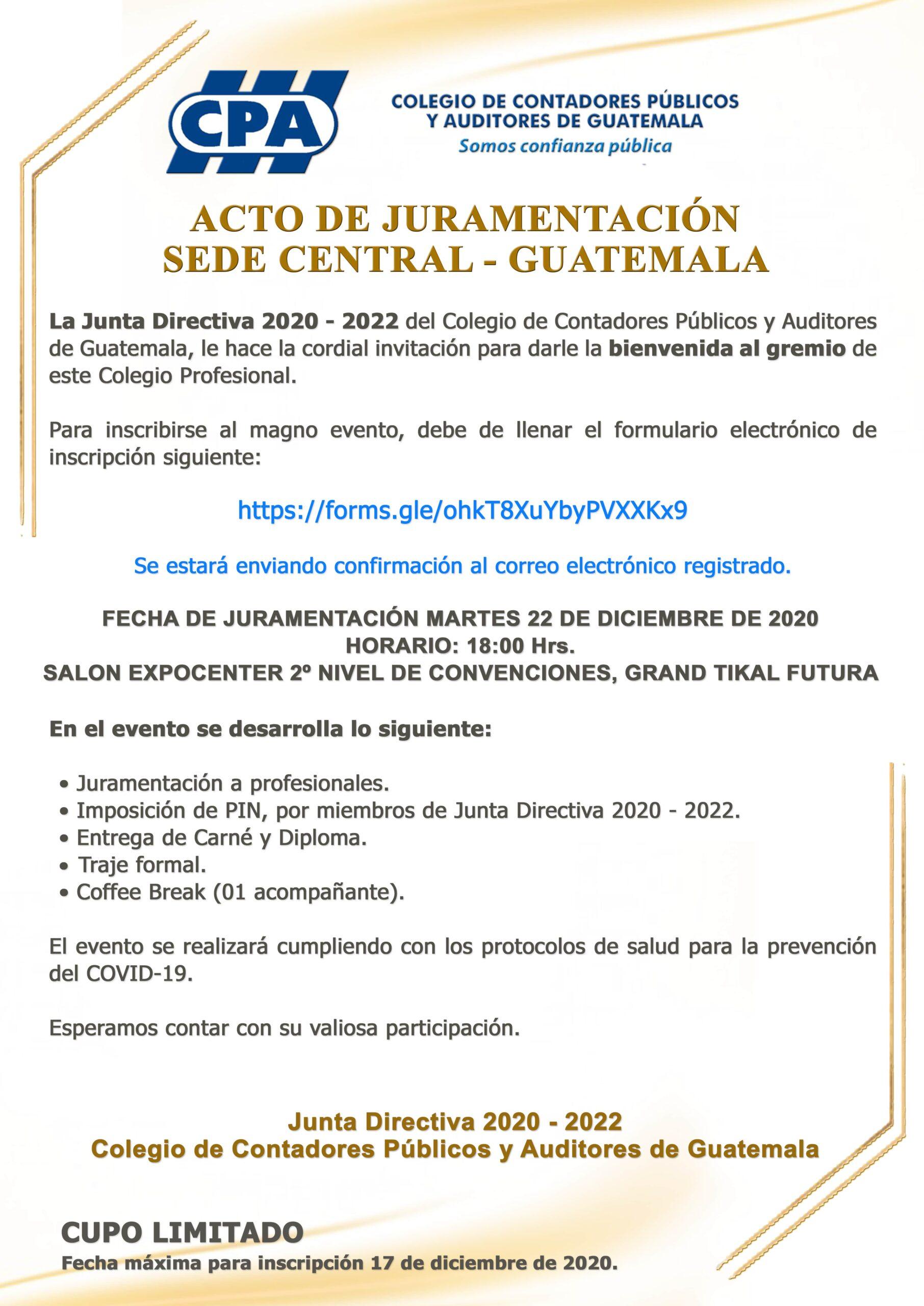 ACTO DE JURAMENTACIÓN | SEDE CENTRAL | GUATEMALA