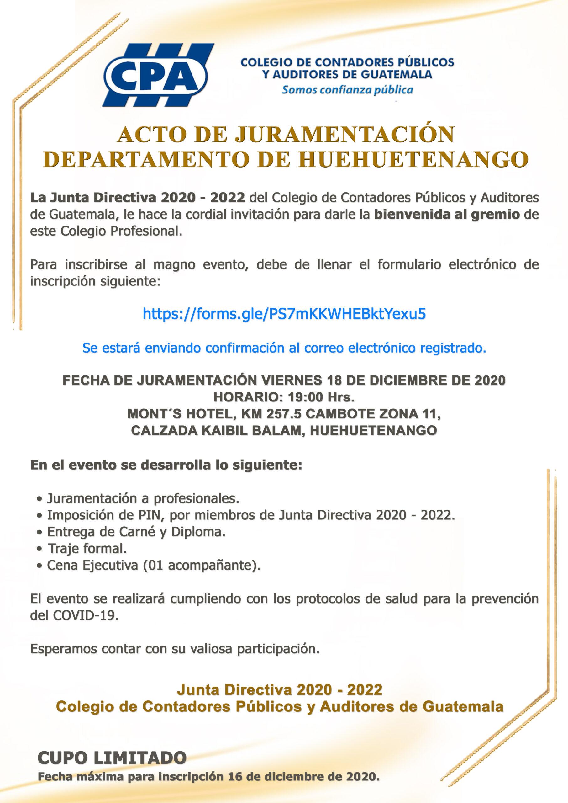 ACTO DE JURAMENTACIÓN | DEPARTAMENTO DE HUEHUETENANGO