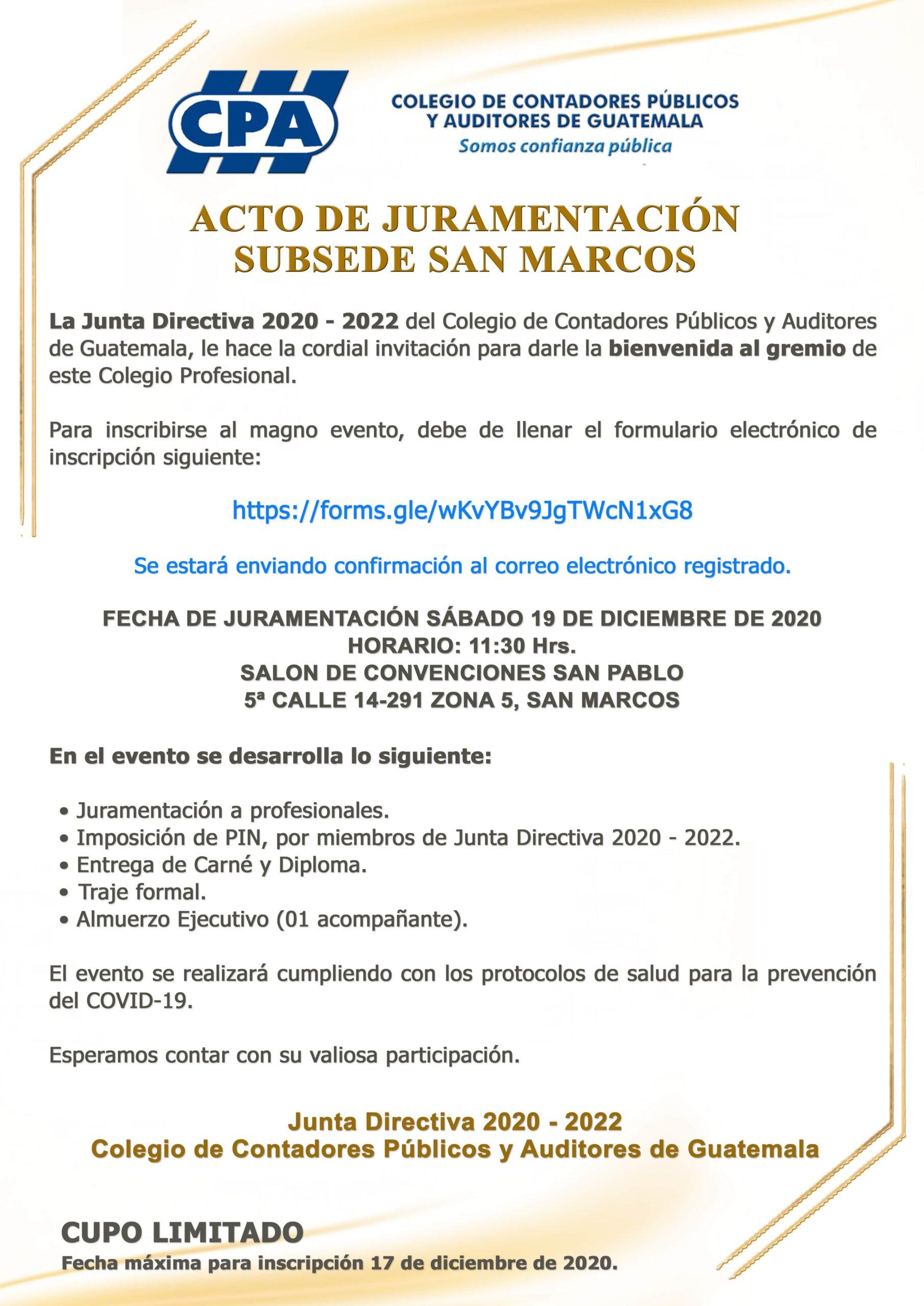 ACTO DE JURAMENTACIÓN | SUBSEDE SAN MARCOS