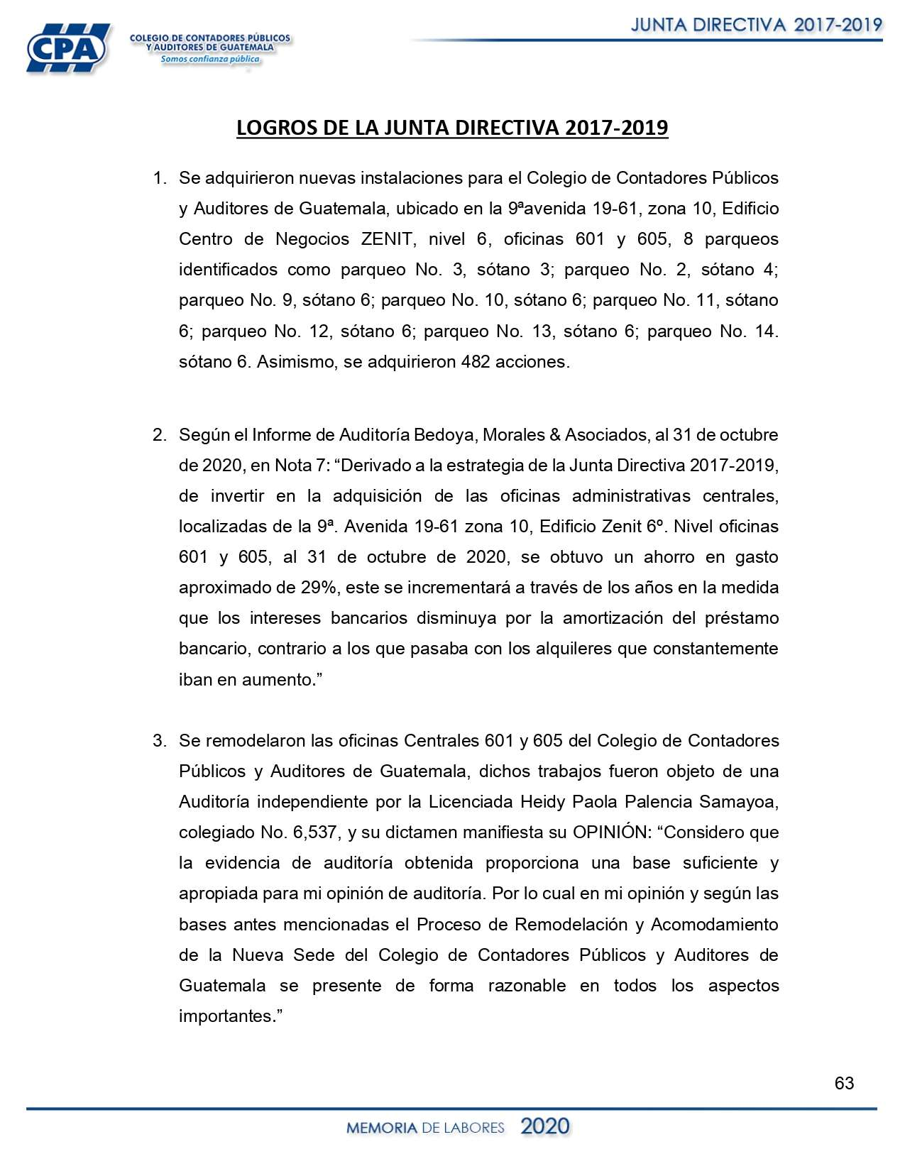 LOGROS DE JUNTA DIRECTIVA 2017-2019
