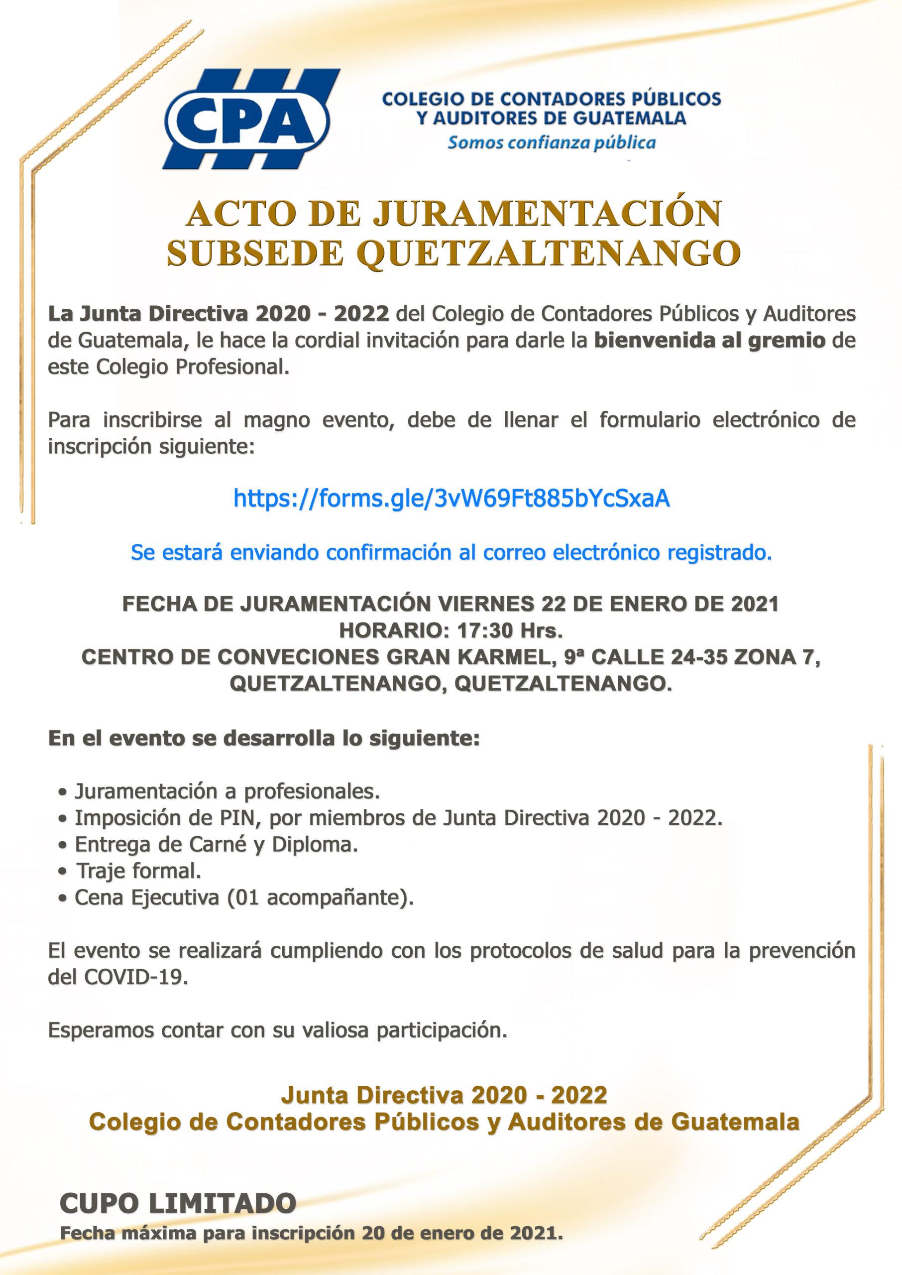 JURAMENTACIÓN | SUBSEDE QUETZALTENANGO | 22 ENERO 2021