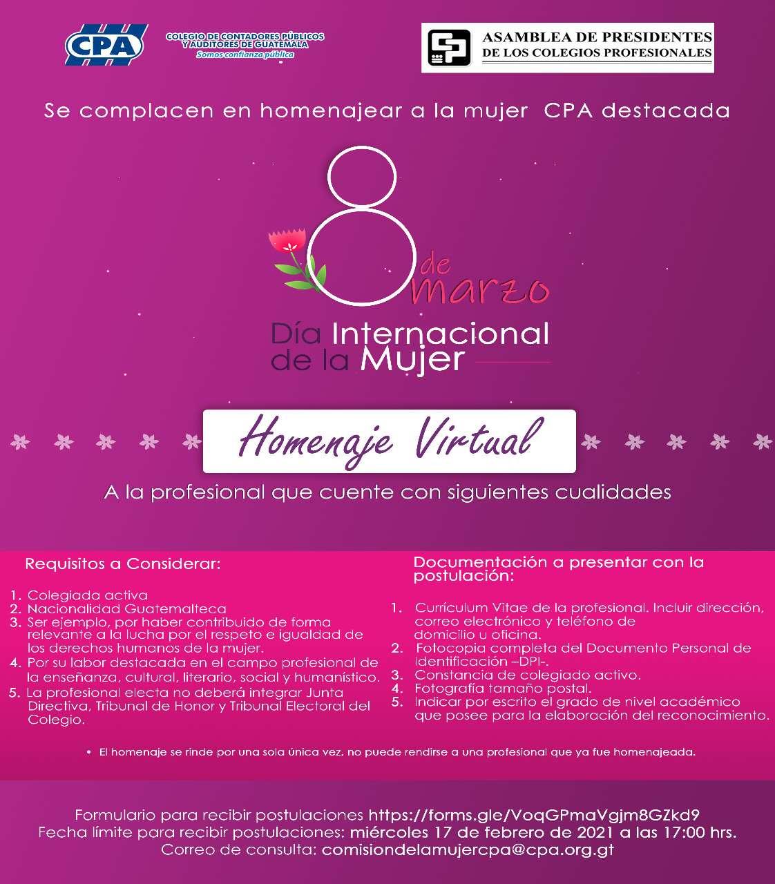 HOMENAJE VIRTUAL | MUJER CPA DESTACADA | DIA INTERNACIONAL DE LA MUJER | 17 FEB 2021