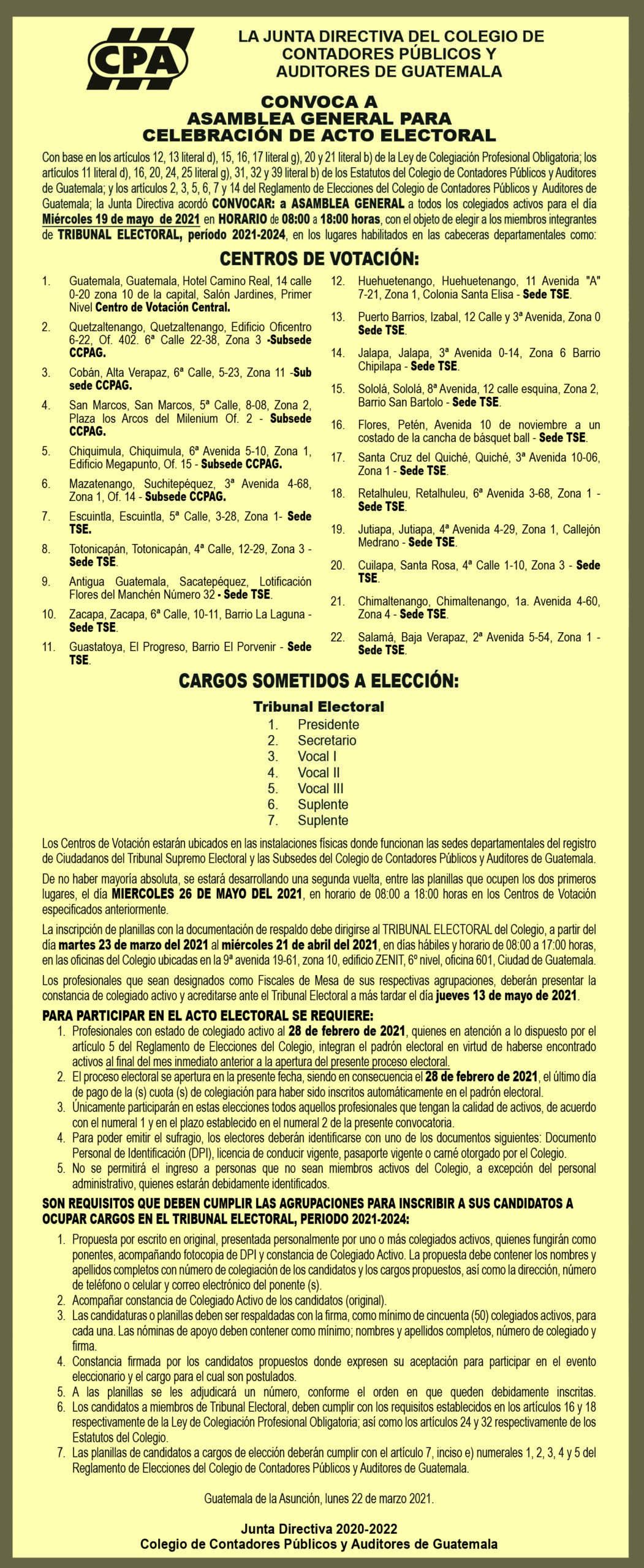 CONVOCATORIA ELECCIONES TRIBUNAL ELECTORAL, PERIODO 2021-2024 | 22 MAR 21