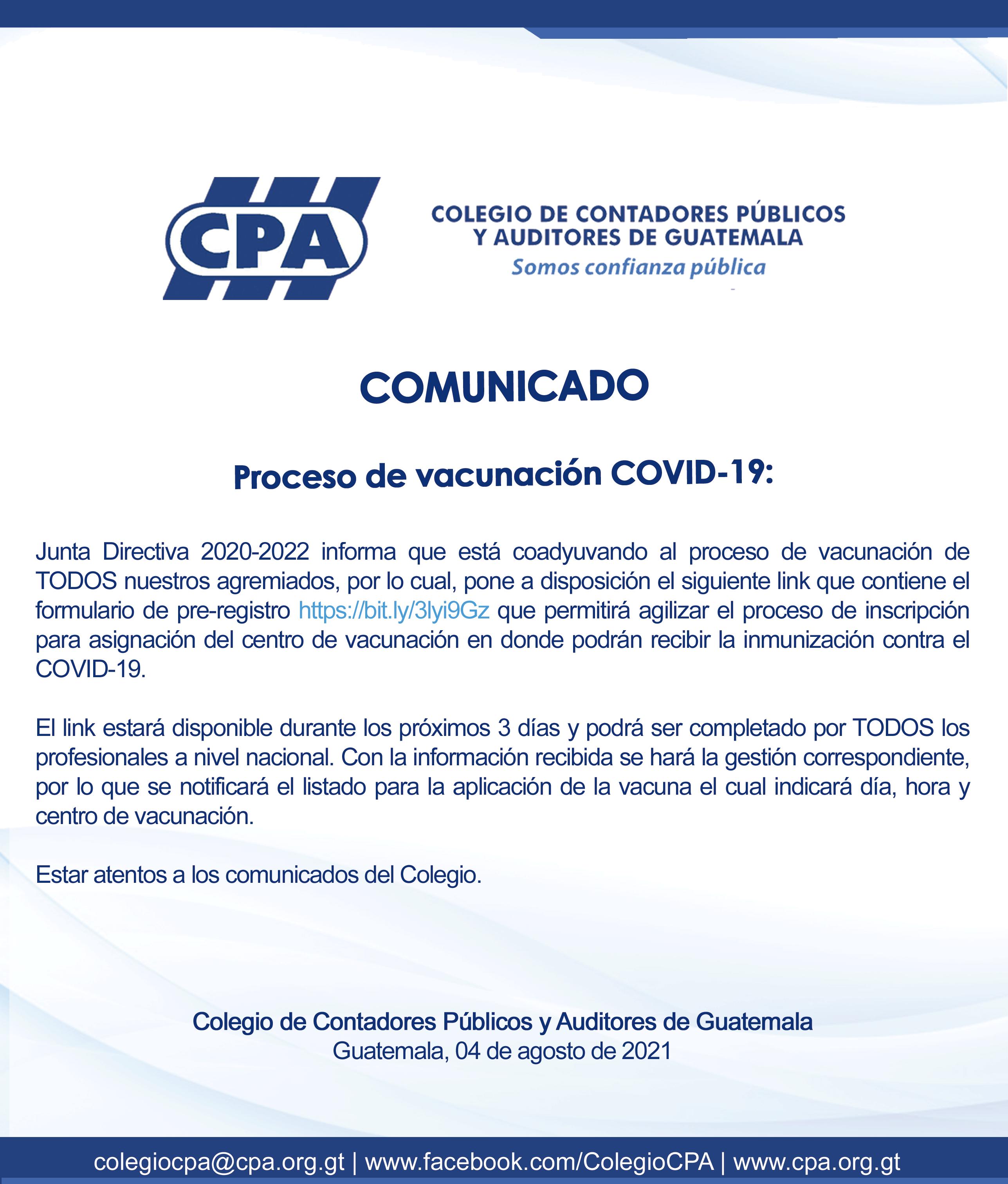 PROCESO DE VACUNACION PARA PROFESIONALES UNIVERSITARIOS